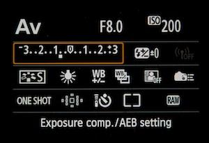 The image below shows a Canon 6D set to Av mode with exposure compensation set to underexpose the image by 2/3rds of a stop.
