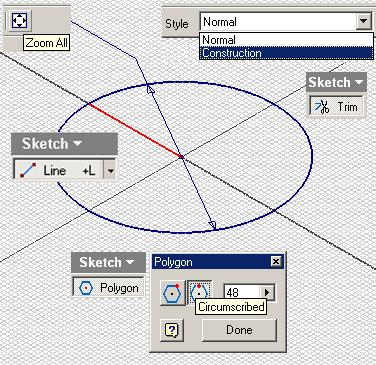 Next, select the Polygon tool, choose the Circumscribed option in the tool s dialog window (we choose the Circumscribed option to allow the dovetail seams to bend beyond the area of the circular
