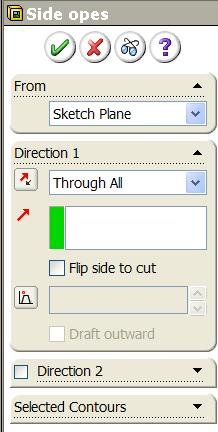 Side Windows Create a sketch on the selected plane using the dimensions shown. Note the concentric circles. Select Extrude cut from the features toolbar and use the Through All end condition.
