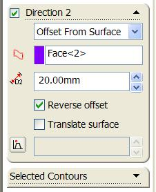 Select the face you want to offset from and enter a distance of 20mm.