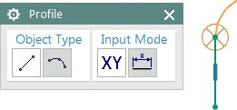 You can choose whether you would like a line segment or an arc by clicking on the corresponding icon in the Object Type section of the Profile dialog box, or you can switch back and forth between