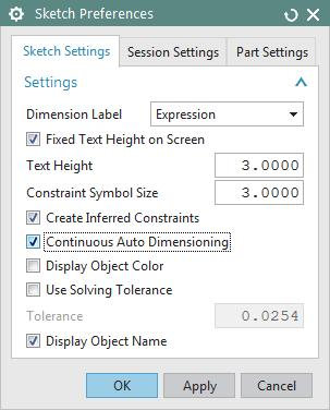 Once you are comfortable with the software, you can decide whether to use it or not, but while you are learning, we recommend that you DISABLE Continuous Auto Dimensioning in the Sketch Preferences