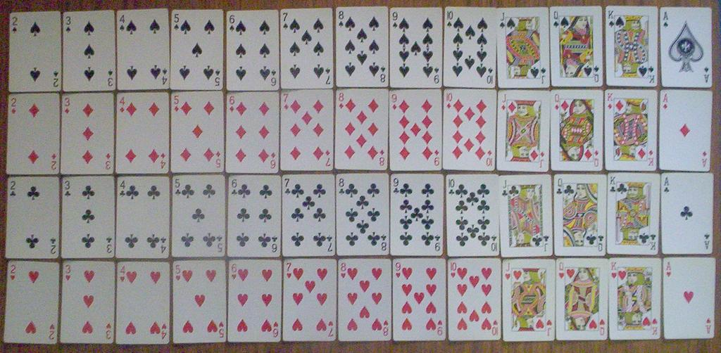 Poker is played with a deck of 52