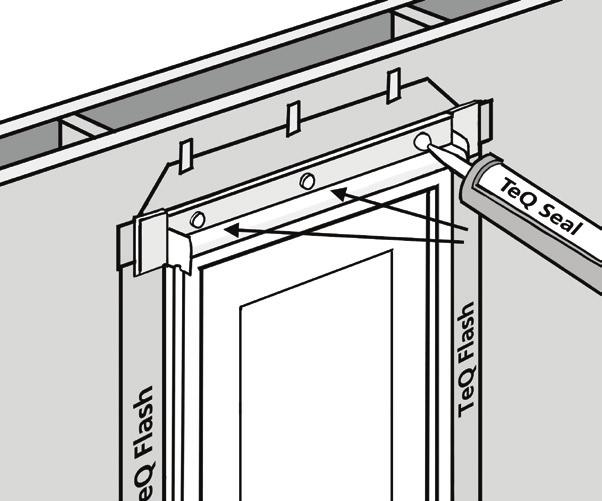 "8. IF FLANGED DOOR, INSTALL THE SELF ADHERED FLASHING Use 4""or 6"" OSI TeQ Flash to run the height of the door and extend up the head of the door another 4""or 6"" (depending on size of flashing used"
