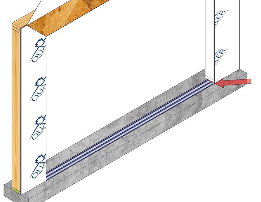The bead will run the entire depth of the sub-sill anchor plate starting at the face of the wall. (Fig. 8) 2. Install the sub-sill anchor plate using fasteners by others.