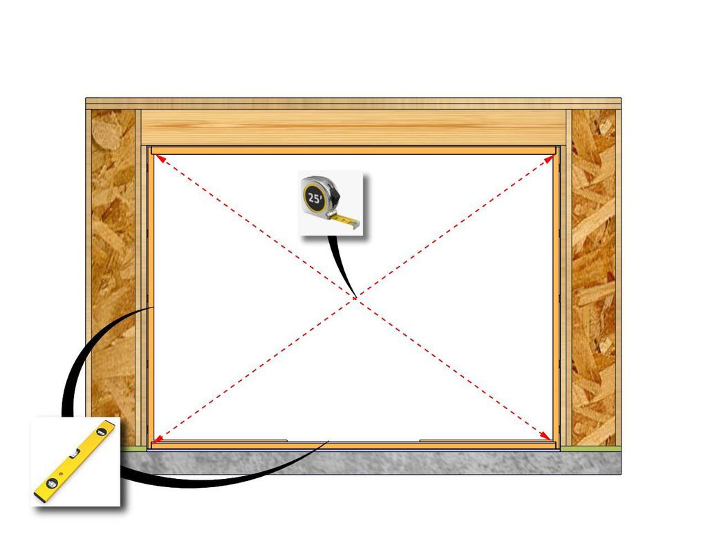 Step E-1: Door Frame Installation (continued) 1. Level at the sill and plumb the frame. Shim under the frame to bring to level in necessary. (Fig. 15) 2.