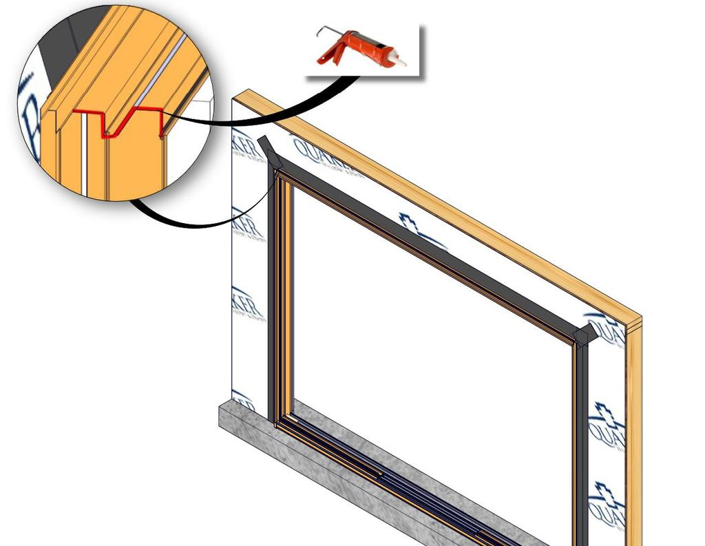 (Fig. 19) 3. Flip down upper flap of WRB so it lays flat across head flashing, then trim 1-2 above the door opening. 4.