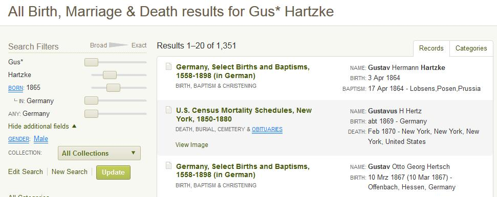1. Return to the All Categories by clicking its link. 2. Select Birth, Marriage & Death category. 3.