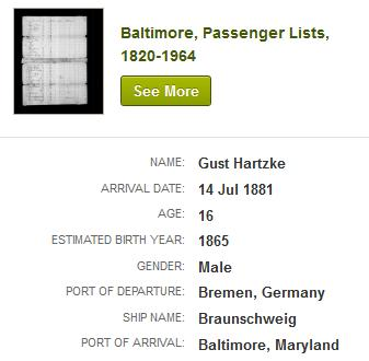 Hover over the first entry, Baltimore Passenger Lists, 1820-1964 for information in a pop-up. 5.