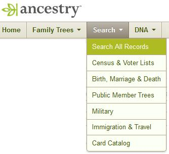 SECTION-1-2: ANCESTRY.COM - PUBLIC MEMBER TREES 1. Go to Ancestry.com. Hover over the Search tab with your mouse and select Search All Records. 2.
