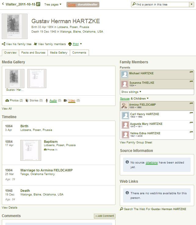 Click the Walter_2011-10-15 family tree link from the Ancestry.com search results.???? Where and when was he baptized?