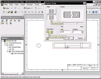 116 Updating Using Autodesk Inventor to Release 5 11. In the Broken View dialog box shown in Figure 6 2, select Structural Style and Horizontal Orientation. 12.