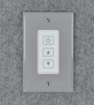 the dimmer control by pushing on the up and down arrows of the dimmer
