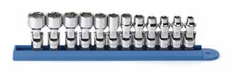 "80311-12 Pc. METRIC 6 Pt. Flex Socket Set 1/4"" DRIVE Item No. Description 80250 5 mm 6 Pt. Flex Metric Socket 1/4"" Dr. 1/4 DRIVE SETS 80257 11 mm 6 Pt. Flex Metric Socket 1/4"" Dr. 80258 12 mm 6 Pt."