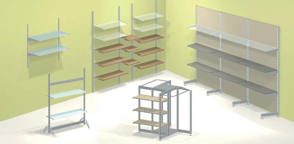 Room and Frontwall Systems SHOPTEC Shopfitting system SHOPTEC is a highly flexible and universal shopfitting system.