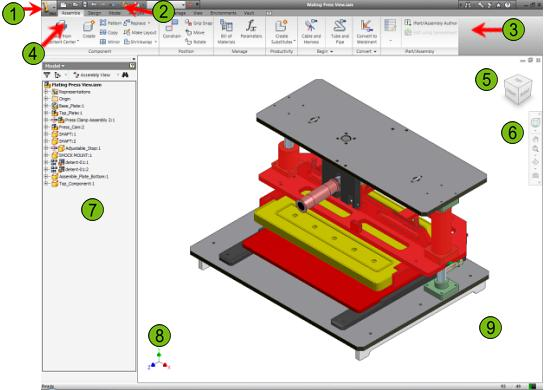 The following illustration shows the major components of the Autodesk Inventor user interface.