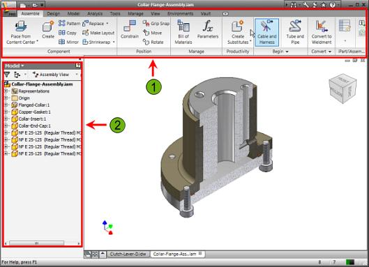 Context-Sensitive Tools As you switch between environments or between tasks in a single environment, Autodesk Inventor displays the appropriate toolsandinformation for the current task.