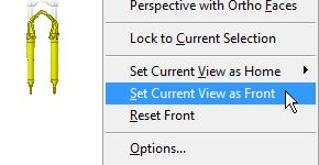 Procedure: Resetting the Current View as Front The following steps describe resetting the current view orientation to the Front view. 1.