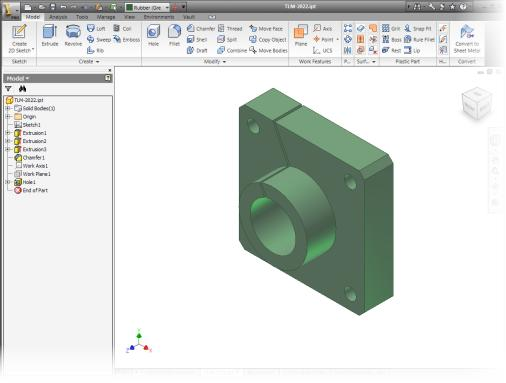 Part Modeling Environment In the part modeling environment: You create and edit 3D part models.