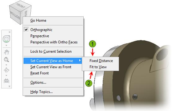 Home View Options The following options control the model display when you use the Home View tool.