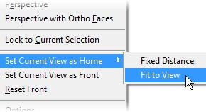 2. With the model in the desired orientation, right-click anywhere in the ViewCube. Click Set Current View as Home, and select Fixed Distance or Fit to View. 3.