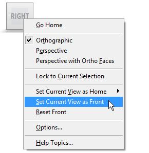 To redefine the current view as the Front view: Move the cursor to the ViewCube. Right-click the cube.