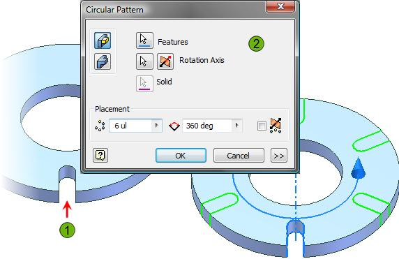 Original slot feature. Circular pattern being created to duplicate the slot feature in a precise and easily editable manner.