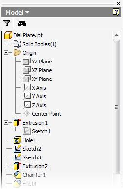 Part Features on Ribbon Model Tab: Displays part modeling tools while in part modeling mode. Browser: Displays the feature history for the part or assembly.
