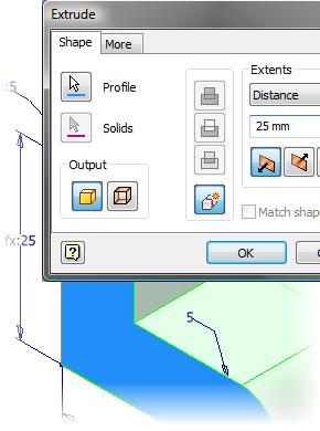 5. 3. In the browser, expand the Extrusion feature.