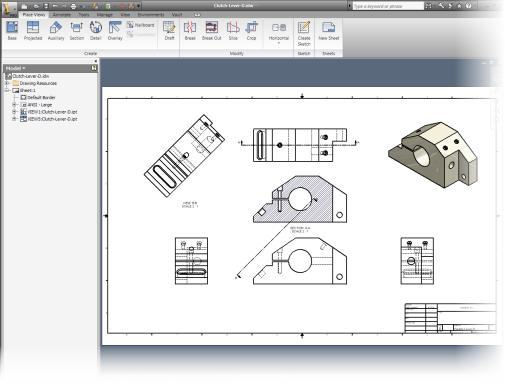 Drawing Environment In the drawing environment: You create 2D drawings of parts and assemblies. A drawing file references one or more parts, assemblies, or presentation files.
