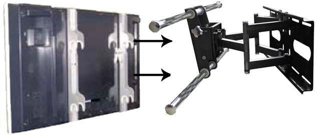 STEP 4: Hanging Flatscreen Device On Wall Mount With mounting brackets fastened to rear of flatscreen device, lift entire flatscreen display over silver crossbars of wall mount and - with the