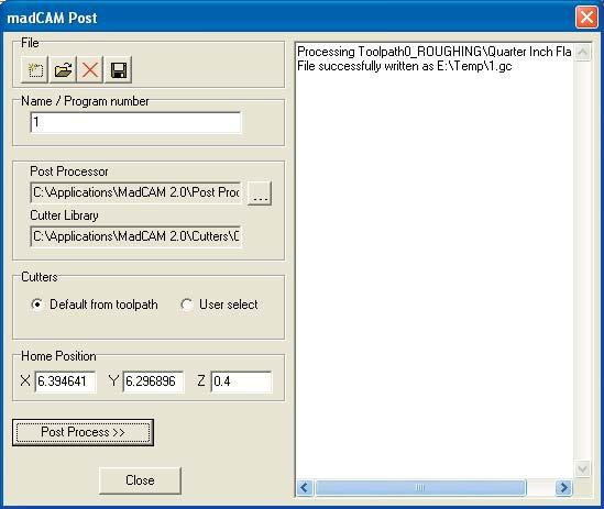 Step 3: Post the toolpath to the Yale Precix Postprocessor. Click the Postprocess button.