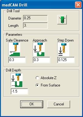 Save the end mill information. Select OK when done. Step 9: Drill Setup: Input the parameters for the toolpath. Drill Tool: The diameter and length should match the tool you just confi gured.