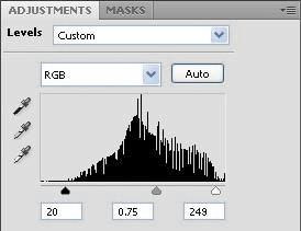 5 In the Levels panel, drag the left triangle to the right to the point where the histogram indicates that the darkest colors begin.