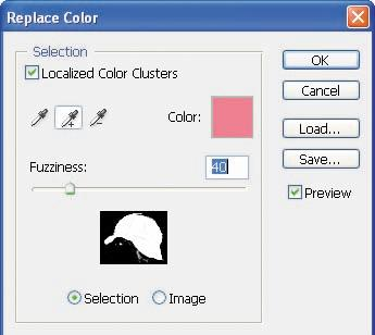 5 Select Localized Color Clusters. Then, using the Eyedropper tool ( ), click anywhere in the cap in the image window to sample that color.