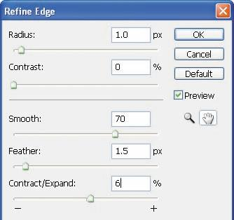 5 Click OK. The Refine Edge dialog box lets you modify your selection with more precision. In this case, using it creates a smoother transition to the clean bricks.