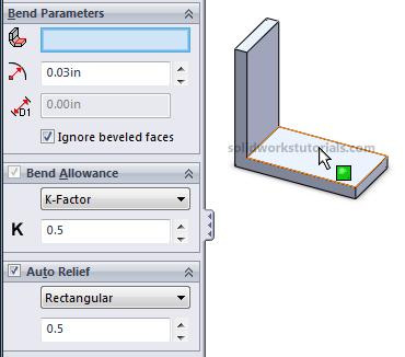 6. Click Sheetmetal>Insert Bends, click flat face as reference