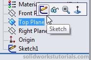 6. Exit sketch, click on Top Plane and click Sketch. 7. Click on Sketch2 and click Normal To. 8.
