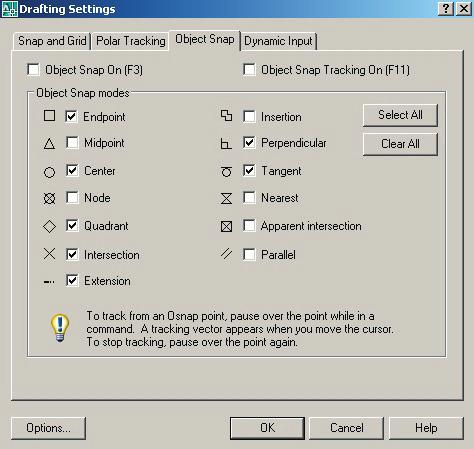 Relative Coordinates AutoCAD 2008 Running Object Snaps. Pop down Tools... Drafting Settings Toggle on the Object Snaps you wish to use. (All on at one time can cause confusing results.