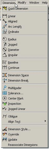 Relative Coordinates AutoCAD 2008 The dimension pop down menu is shown. Use Object Snaps Endpoint, Intersection, Center, etc.