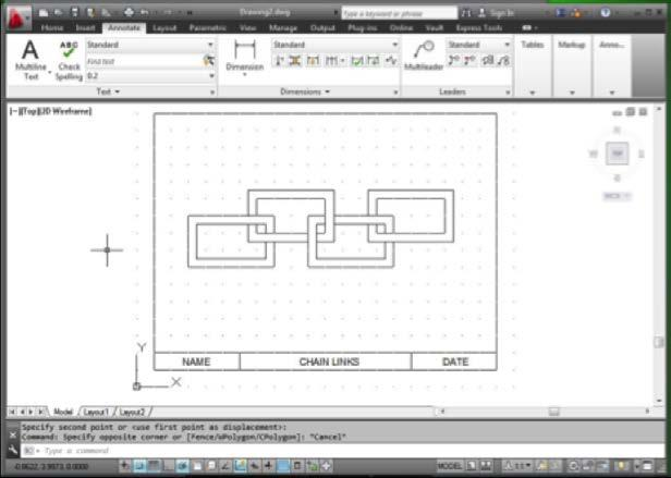 Design and Drafting Figure 21 10.3 Save and Print Your Drawing a. Save your drawing as chain links-name.dwg. b.