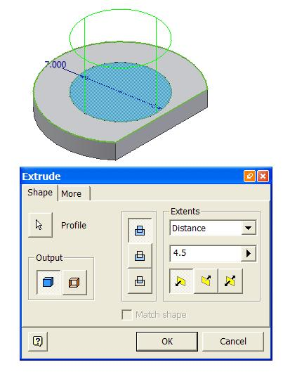 Select the Extrude tool, select the circle as Profile, the