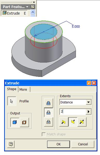 General Dimension tools to create a concentric 5 [in] diameter
