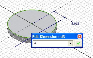 Select the General Dimension tool to apply a 4 [in] linear dimension