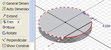Trim tool and click the excessive segment of the circle and the vertical