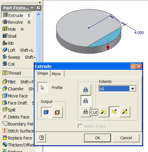 Select the Extrude tool, the Cut and All options, and the downward