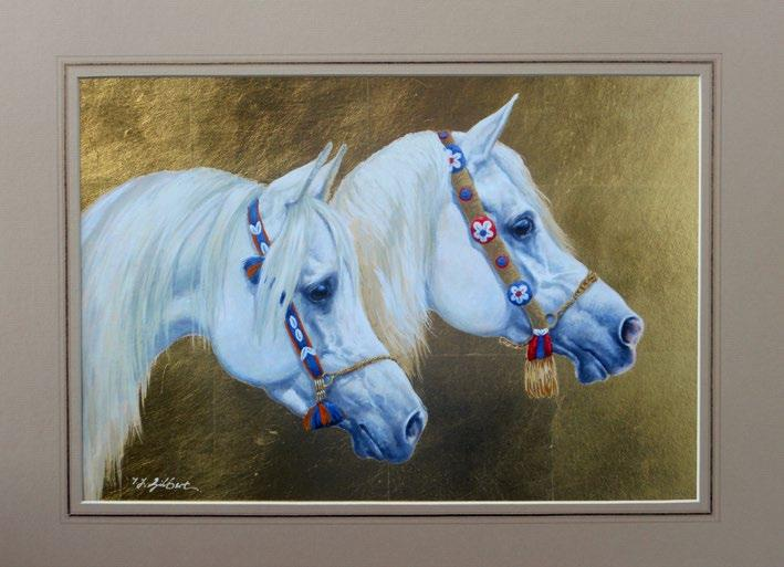 Arab Heads. Arabian Gold. equine subjects. Terence Gilbert paints in a very unique style combining realism with impressionism.