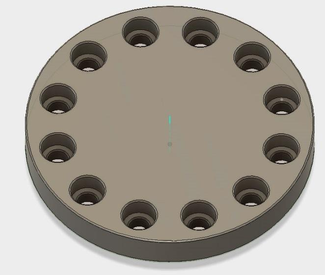 In this lesson, you will create a round plate with 12 counter-bored holes to fit 6-32 socket head screws.