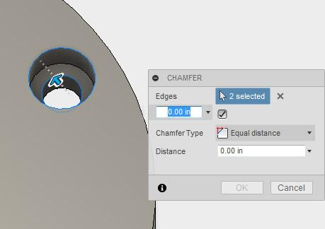 14. Select the Chamfer tool in the Modify drop-down menu.