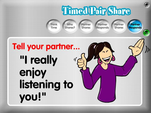21 6. Partner Shares. The listening partner responds using the randomly- selected response prompt displayed.
